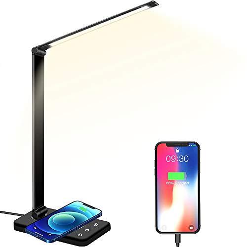Plartree Lampada da Scrivania a LED con Caricatore Wireless, Lampada da Tavolo Pieghevole Lampada da Comodino Controllo Tattile 5 Livelli di Luminosità e 5 Modalità Colore (Nero)