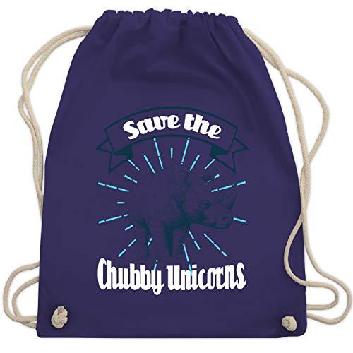 Shirtracer Tiermotive Kind - Save the chubby unicorns sketchy - Unisize - Lila - Spruch - WM110 - Turnbeutel und Stoffbeutel aus Bio-Baumwolle