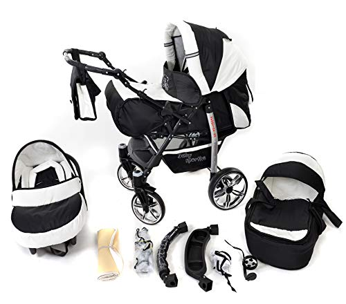 Sportive X2, 3-in-1 Travel System incl. Baby Pram with Swivel Wheels, Car Seat, Pushchair & Accessories (3-in-1 Travel System, Black & White)