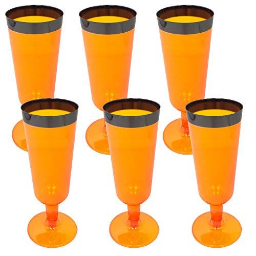 Creofant - Juego de 6 copas de champán de plástico · 6 vasos · vajilla de camping · vasos de pícnic · vasos de champán · vajilla de fiesta · accesorios de fiesta