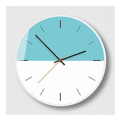 ZXCVB Reloj de pared 3D de 35 cm, silencioso, redondo, sin garrapatas, reloj de pared para dormitorio, estilo moderno y simple (color: gris, tamaño de la hoja: 12 conchas de oro rosa)