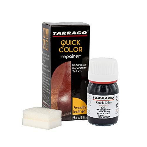 Tarrago | Quick Color 25 ml | Tinte Para Zapatos y Accesorios de Piel, Cuero Liso y Lona | Tintura de Secado Rápido Que Repara y Protege el Calzado de Pequeños Desgastes (Marrón Oscuro 06)