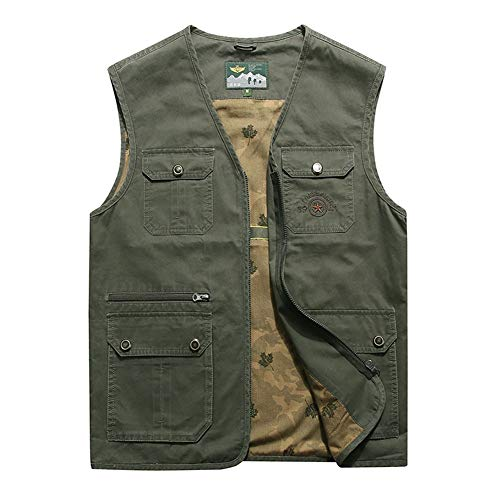 Gilet Mens Outdoor Casual Multi-Poches Stand Collor À Capuche Vêtements Camping Chasse Pêche Photographie
