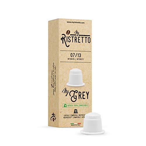 FRHOME - 100 Cápsulas de Café compatibles Compostables Nespresso sabor Café MyGrey - 100% Arabica - MyRistretto