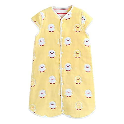 GDSSX Bebé Saco Saco Manta usable Cotton Baby Baby Sleep Bag Transpirable Sin Mangas Saco de Dormir Pijamas de Bebe (Color : Yellow Duck, Size : Medium)