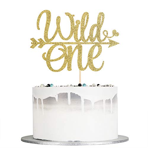 Auteby Wild One Cake Topper - Glod Glitter Cake Topper for Baby First Birthday Party Decorations (gold)