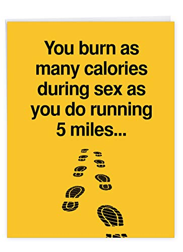 Extra Large Happy Birthday Note Card With Envelope 8.5 x 11 Inch - 'Five Miles' Happy Appreciation Humorous Card - Burn Calories Faster On Your Birthday Greeting Card J9994