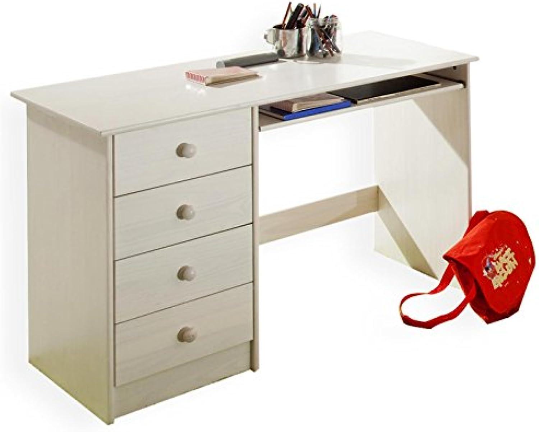 IDIMEX Kinderschreibtisch Schülerschreibtisch MALTE Schreibtisch mit Tastaturauszug und 4 Schubladen, Kiefer massiv wei lackiert