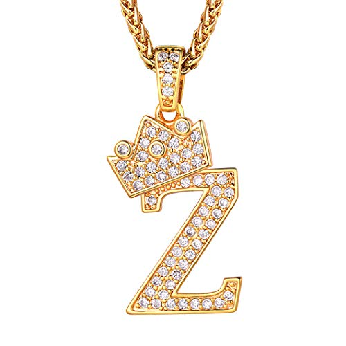 Richsteel Ice Out Crown Initial Necklace for Men Women Capital Letter Z Pendant with 22'' Wheat Chain Alphabet Monogram Necklaces
