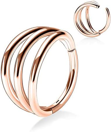 AROWRO Helix Rook Earrings Nose Hoop Sleeper Earring Three Open Stacked 18G 8mm 316L Surgical product image