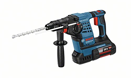 Bosch Professional Bohrhammer GBH 36V LI Plus (36 Volt, inkl. 2x4,0 Ah Akku, Schnellladegerät, Zusatzhandgriff, Tiefenanschlag, in L-BOXX 238)