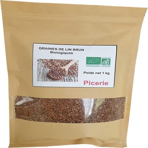 Graine de lin brun BIO de 1 kg I Protéines, Perte de Poids, Digestion, Minéraux, Oméga-3 | Qualité Supérieure I Superaliment