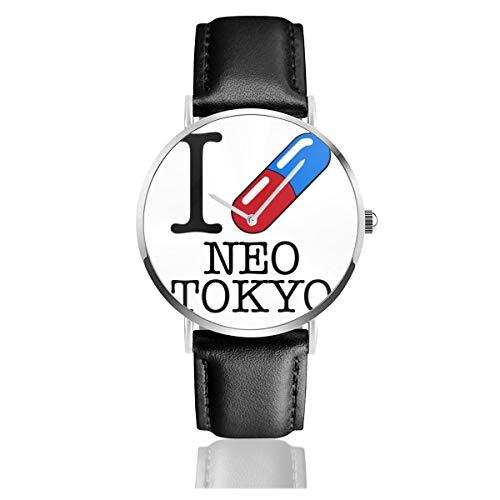 Unisex Business Casual I Love Neo Tokyo Uhren Quarzuhr Lederarmband schwarz für Männer Frauen Young Collection Geschenk