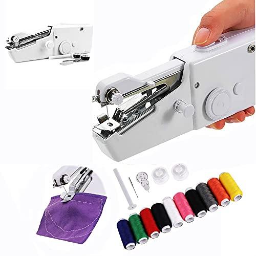 Maquina de coser Portatil Mini, Maquina de coser manual, Ideal para Viajes - Con accesorios y bobinas de hilo - 20 x 7 x 3.5 cm