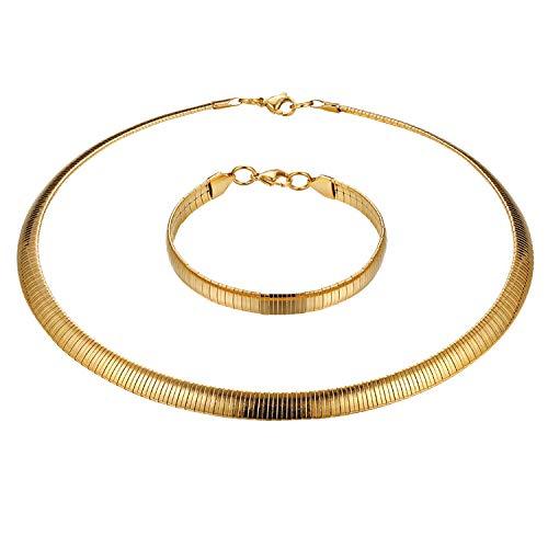 Cupimatch Set di Collana e Bracciale di Moda in Acciaio Inossidabile Forma di Serpente Piatto Colore Oro Argento Regalo Perfetto