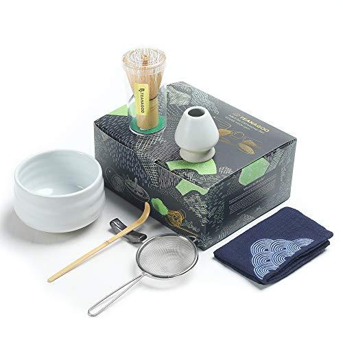 TEANAGOO Set da tè Matcha, Set da tè Giapponese, Ciotola Matcha, Frusta in bambù, Paletta, setaccio, Supporto per Frusta, Set Frusta Matcha N1, tè Verde Matcha in Polvere