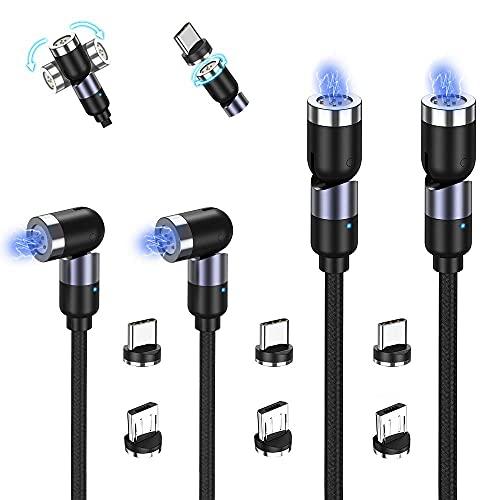 TOPK Gen3 Câble Magnétique, 3A Chargeur Magnétique Charge Rapide et Synchro Données, Rotatif à 360° et 180° Câble 3 en 1 Aimanté (1M+1M+2M+2M, Lot de 4) Compatible avec Micro USB Type-C