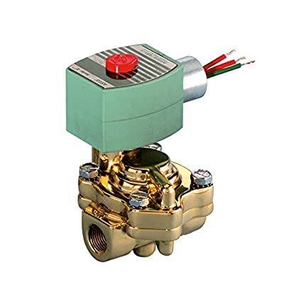 "ASCO 8221G005-120/60,110/50 Brass Body Pilot Operated Slow Closing Solenoid Valve, 3/4"" Pipe Size, 2-Way Normally Closed, Nitrile Butylene Sealing, 3/4"" Orifice, 5.5 Cv Flow, 120V/60 Hz, 110V/50 Hz by ASCO Valve Inc."