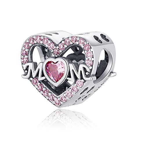TIZU Charm Cuore Mom in Argento 925 Charms Mamma Famiglia Compatibili Pandora Bracciale