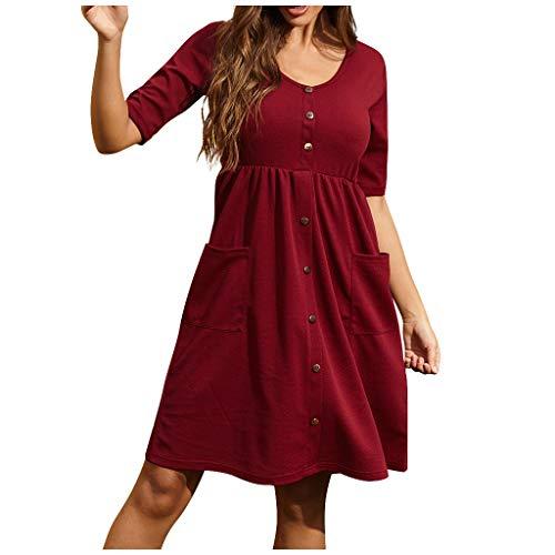 Damen Casual Kleid, Frauen Knopf V-Ausschnitt Einfarbiges Kleid Sommerkleid Strandkleider A-Linie Kleid Knielang Kleid Casual Kurzarm Kleider