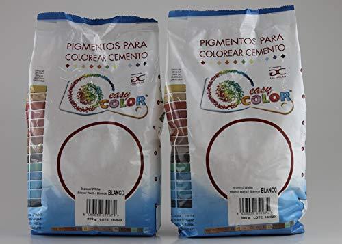 KITS dos bolsas de 800 g. Easy Color pigmento Blanco. Dióxido de Titanio. Pigmento para cemento, mortero y hormigón (Blanco)