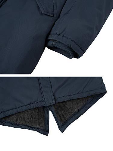 WenVen Women's Mid Length Hooded Joker Jacket Sherpa Lined Parka Jacket(Navy,M)
