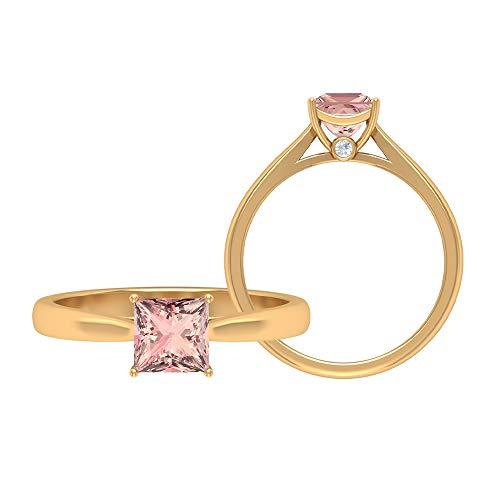 Anillo de morganita creado en laboratorio de 6,50 mm, D-VSSI Moissanita de oro, anillo de compromiso solitario corte princesa, 18K Oro amarillo, Size:EU 44