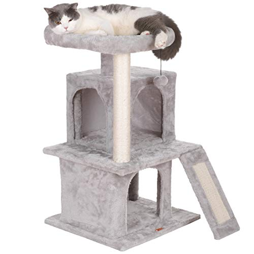 LUCKY MARKET キャットタワー 猫タワー 爪とぎ 天然サイザル麻紐 据え置き 2つの豪華なアパートメント 特大テラス 大型猫 子猫 ネコタワー すべての年齢の猫に適しています 安全で安定して使用できます 安定性抜群 組立簡単 多頭飼い スペースを