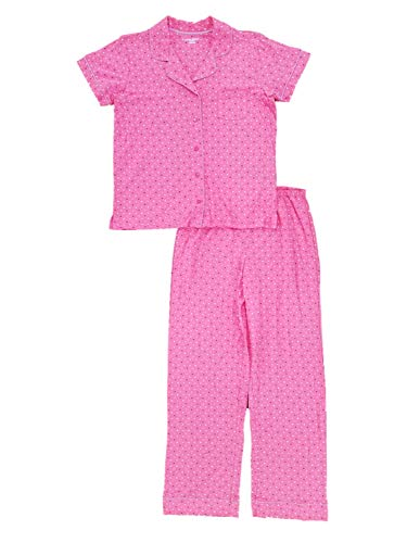 Womens Pink & Purple Polka Dot Pajamas Lightweight Short Sleeve Sleep Set 1X