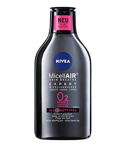 NIVEA MicellAIR Skin Breathe Mizellenwasser Expert im 4er Pack (4 x 400 ml), Make-up Entferner erhöht die Sauerstoffaufnahme & entfernt Make-up, Mizellen Reinigungswasser, 0 % Produktrückstände