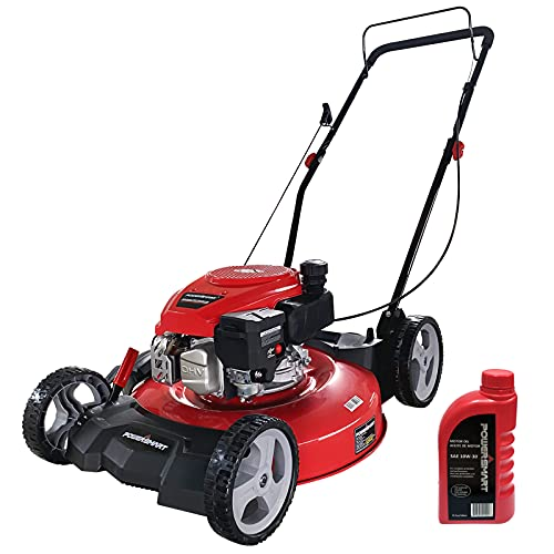 """PowerSmart Push Lawn Mower Gas Powered - 21 Inch, Side Discharge and Mulching Lawn Mower with 144cc OHV 4-Stroke Engine, 5 Adjustable Heights 1.18""""-3"""", Oil Included"""