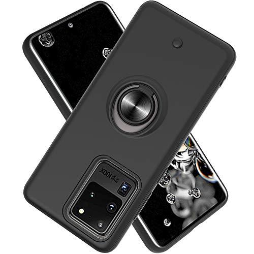 FAWUMAN Funda para Samsung Galaxy S20 Ultra(6.9 Inch Soft TPU + Duro PC Doble Parachoques,Giroscopio Rotatorio,Botón de Descompresión, con Soporte de Anillo Funda Protectora Serie -Negro