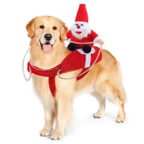Chnaivy Hundekostüm Weihnachten,Weihnachten Hundekleidung Weihnachten Hundemantel Hung Winter Jacken Manteljustierbare Weihnachtsmann-Hundekostüm Outfit auf Hund Haustier Katze