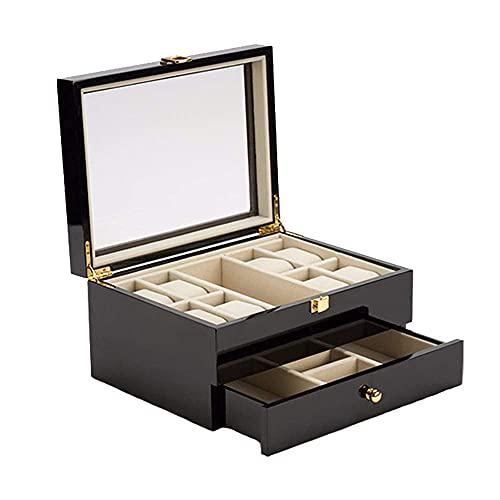 JIANGCJ Bella Reloj Box Organizer Pantalla 8 Slot Reloj de Pulsera Multiusos Caja Organizador Estuche Organizador Vidrio Top Joyería Almacenamiento