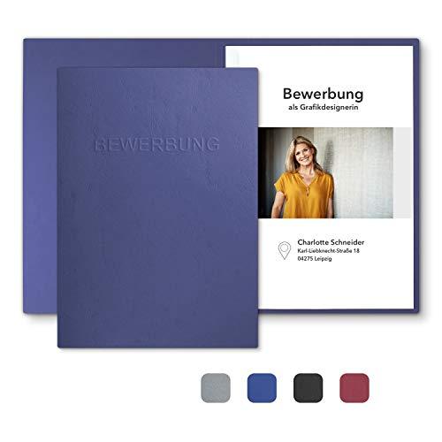 """8 Stück 2-teilige Bewerbungsmappen Blau mit 1 Klemmschiene in feinster Lederstruktur - hochwertige Prägung """"BEWERBUNG"""" - 6"""