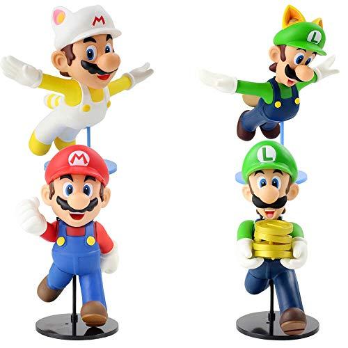 Yzoncd 4Pces Super Mario Bros 2 Spiel Luigi Mario Actionfigur 22Cm, Anime Fliegende Goldmünze Luigi Mario PVC Modell Spielzeug Geschenk Für Kinder