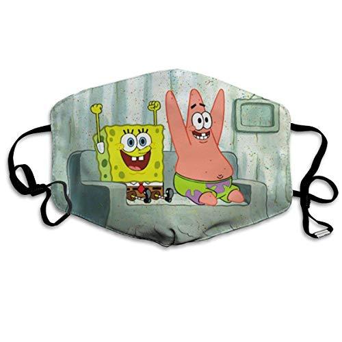Spongebob und Patrick Star Männer Frauen Verstellbarer Mundschutz Mundschutz Anti-Staub Waschbar Wiederverwendbarer Mundschutz Für Kinder Teenager Erwachsene Anti Verschmutzung
