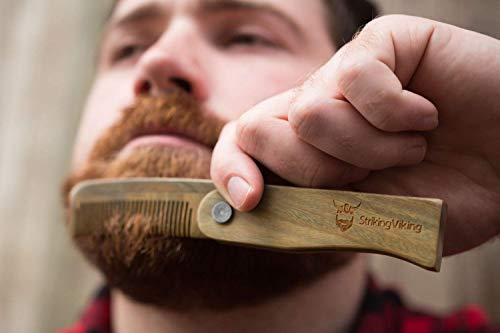 Striking Viking Folding Wooden Comb - Men's Hair, Beard & Mustache Comb - Pocket Sized Sandal Wood Comb for Everyday Grooming, Use Dry or with Balms and Oils