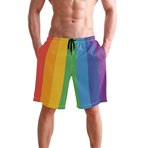 DERLONKAJE LGBT Gay Lesbian are Human Swim Trunks Summer Beach Shorts Pockets Boardshorts Men Mesh Lining
