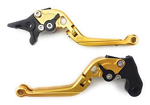Paire de leviers ajustables et repliables en aluminium anodisé pour Tuono V2 1000 & R 2002-2010 (Or/Noir)