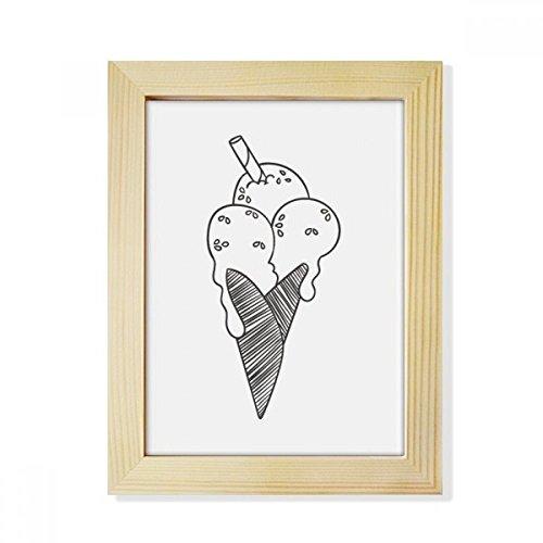 DIYthinker Schwarzer Entwurf Sesame Keks Eiscreme Desktop-HÖlz-Bilderrahmen Fotokunst-Malerei Passend 15.2 x 20.2cm (6 x 8 Zoll) Bild Mehrfarbig