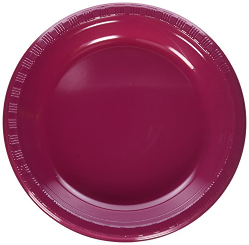 Creative Converting Touch of Color 20 Count Plastic Banquet Plates, Burgundy - 28312231
