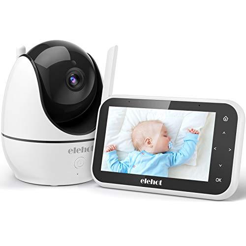 Baby Monitor Videocamera Bambini Babyphone 720P Schermo LCD 4.5'' Touch VOX Audio Bidirezionale Visione Notturna 8 Ninnananne Temperatura Multi Angolazione di ELEHOT(4.5'')