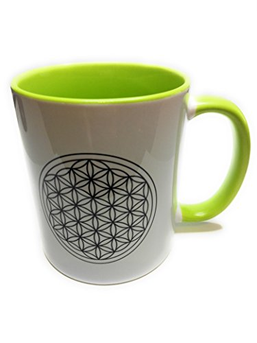Dreamlife Kaffee- /Teetasse Blume des Lebens grün mit Geschenkskarte