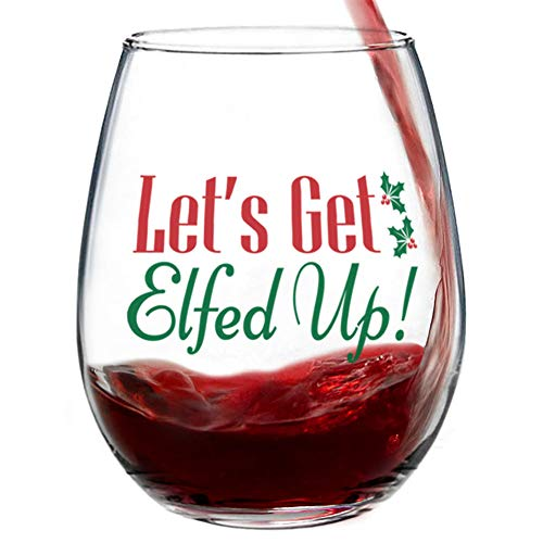 cheers to these bar gifts that will arrive before christmas Let's Get Elfed Up Stemless Christmas Wine Glass for Fun Christmas Holiday Present with Gift Box - 15 Ounces