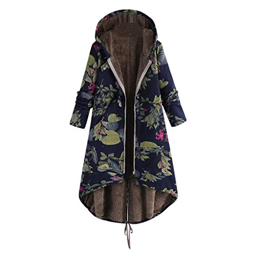 LISTHA Floral Hooded Long Coat Women Winter Warm Outwear Pockets Vintage Jackets