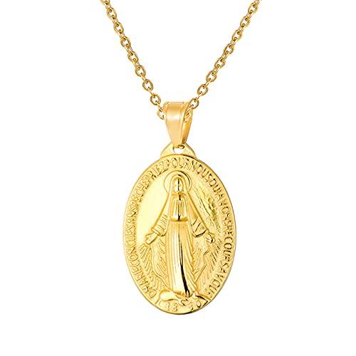 Medalla milagrosa de acero inoxidable con colgante ovalado para mujeres y hombres, regalo de joyería salvaje