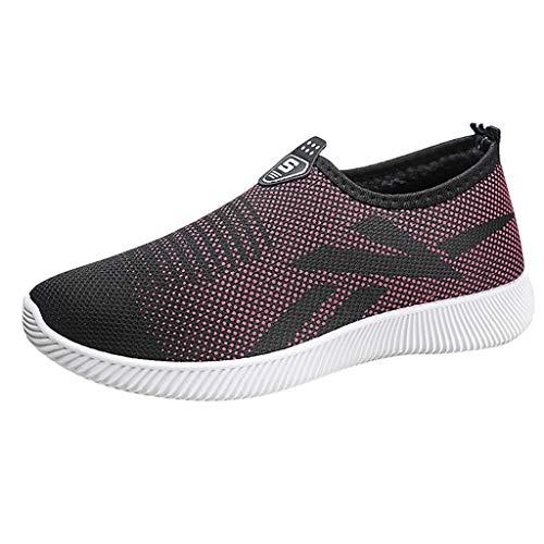 Honestyi Femmes Chaussures de Running Maille Respirant Bottes à Enfiler Sneakers Basses Dame Outdoor Casual Shoe Elastique Footwear Plateforme Sneakers Pas Cher Baskets