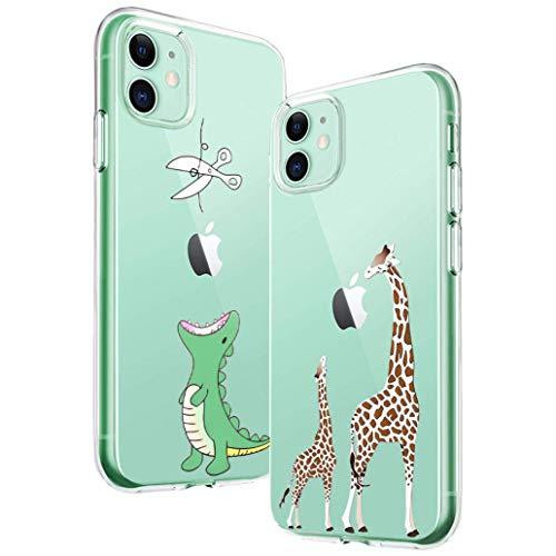 Yoowei [2-Pack] Funda para iPhone 11, Transparente con Dibujos Ultra Fino Suave TPU Silicona Protector Carcasa para iPhone 11 (Dinosaurio Verde + Jirafa Madre e Hijo)