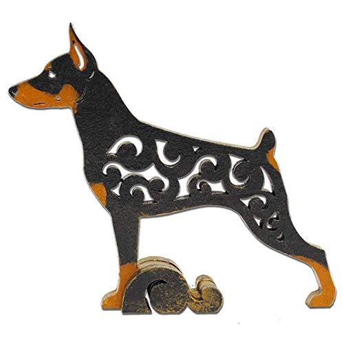 Black/tan Miniature Pinscher (Zwergpinscher, Min Pin) dog figurine, dog statue made of wood (MDF), statuette hand-painted